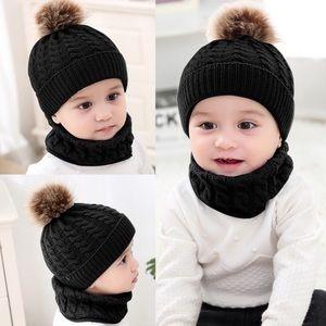 Other - Black Winter Baby Hat Fur Pom Pom & Ring Scarf